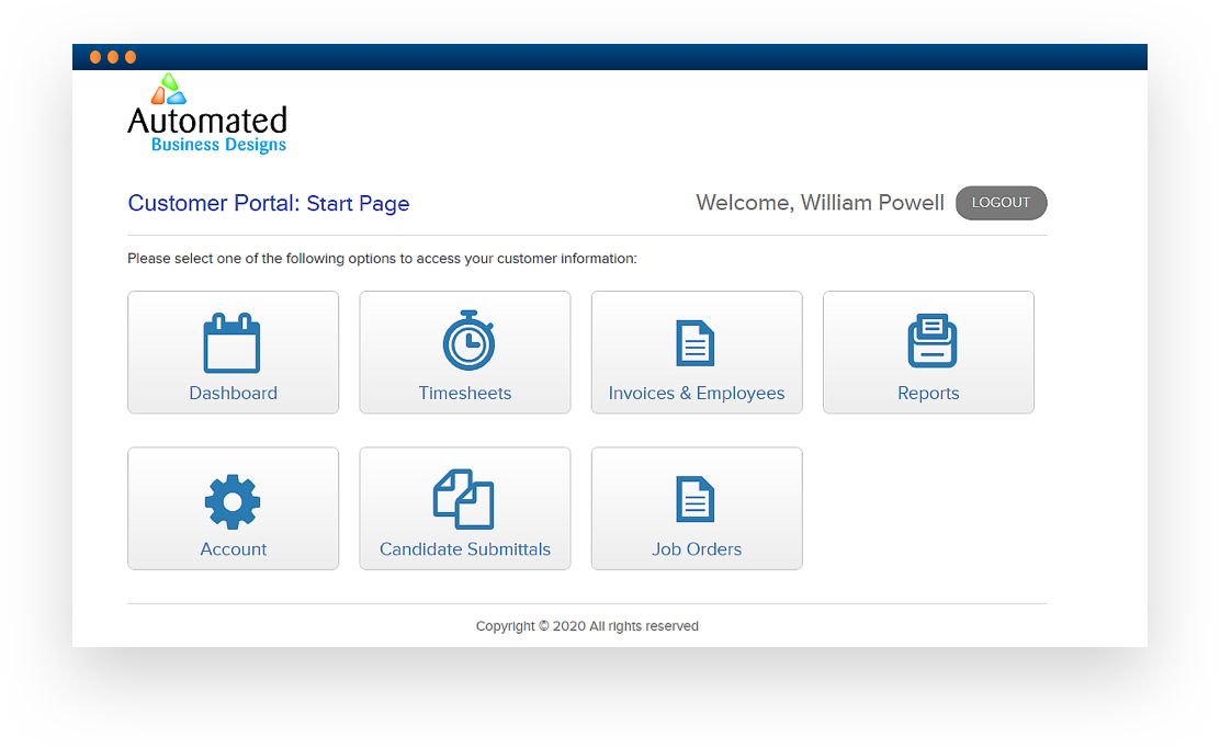Software screenshot displaying a 'Customer Portal'