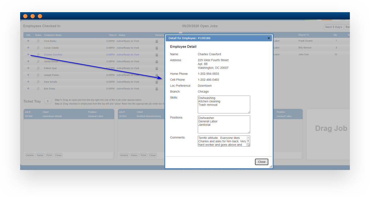 Software screenshot illustrating labor dispatch module functionality