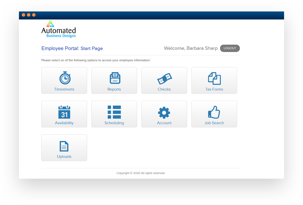 Software screenshot displaying an 'Employee Portal'